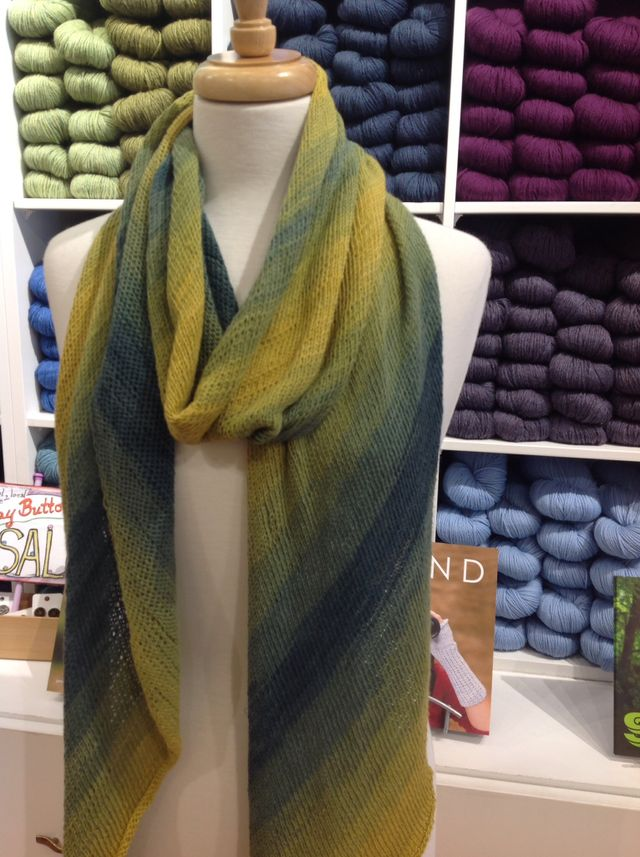 "<a href=""http://www.ravelry.com/patterns/library/bias-before--after-scarf"">Before and After Scarf</a> in <a href=""http://threebagsfull.ca/yarn/tahiti/"">Tahiti</a>"