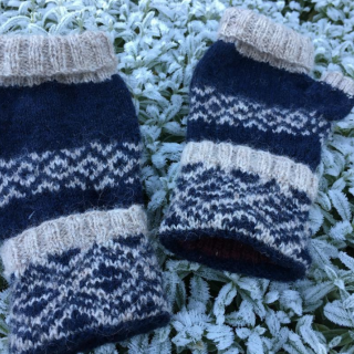 Finished Sun and Moon Mittens