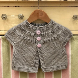 Threes Baby Cardigan in Rosy Green Wool