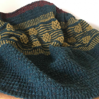 Moonstruck Knits Mare Shawl with Rust
