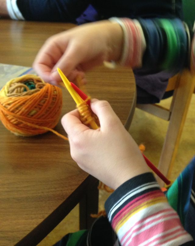 Six year old learning to knit