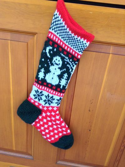 "Christmas Stocking from <a href=""http://www.ravelry.com/patterns/library/snowman-christmas-stocking-2"">Annie's Woolens e-Book</a>"