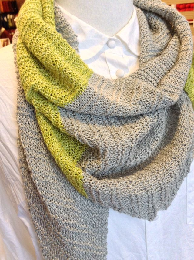 "<a href=""http://www.ravelry.com/projects/threebagsfull/racing-raindrops-scarf"">Racing Raindrops</a> in Shibui Twig"