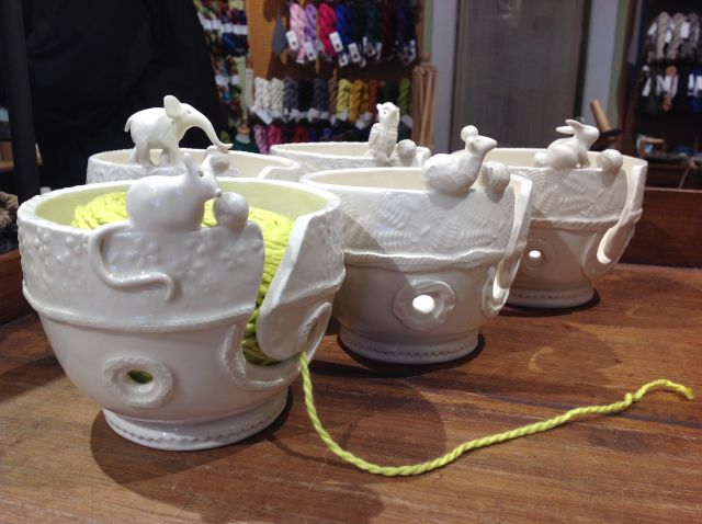 "<a href=""http://threebagsfull.ca/accessories/porcelain-yarn-bowl/"">Porcelain Yarn Bowls</a> from Nancy Walker Studio"