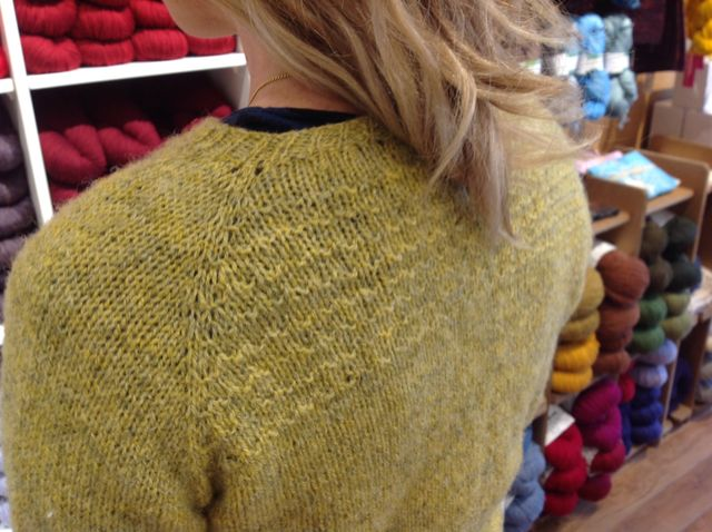 Heathered cardigan textured back detail