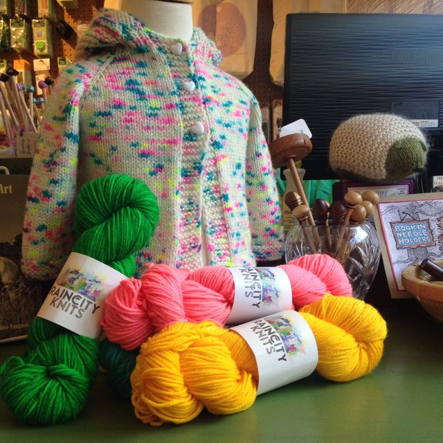 "<a href=""http://www.ravelry.com/projects/threebagsfull/lillies-little-sweater"">Lillie's Little Sweater</a> in RainCityKnits Worsted ""Kaleidoscope"""
