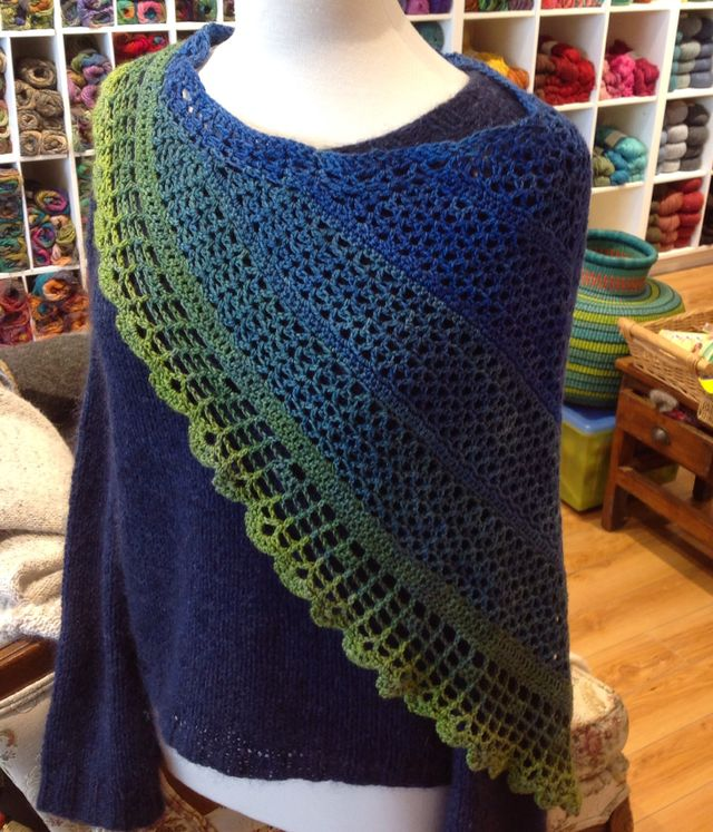 "<a href=""http://www.ravelry.com/patterns/library/juliette-shawl-2"">Juliette Shawl</a> in Party of Five <i>Sea to Sky</i> colourway"