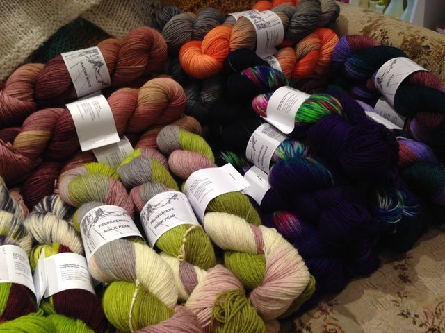 "Just unpacked--over 40 colourways of <a href=""http://threebagsfull.ca/yarn/atelier-franziska-uhl-sockenwolle/"">Sockenwolle</a> from Atelier Franziska Uhl"