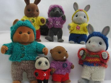 Playing in the Woods knits for Sylvanian Families and Calico Critters