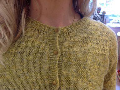 Heathered textured yoke detail