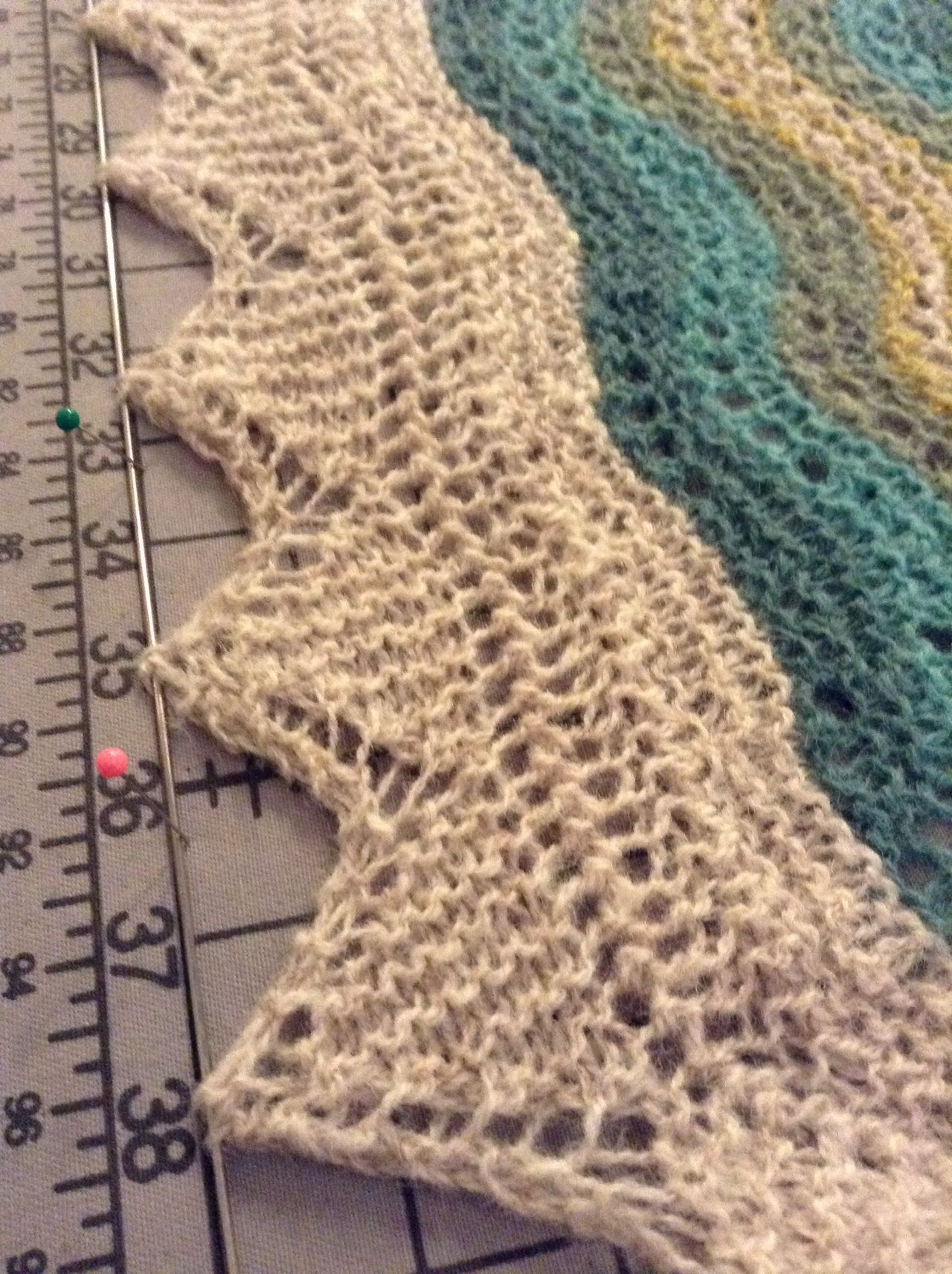 (5) Thread points of lace edging through blocking wire