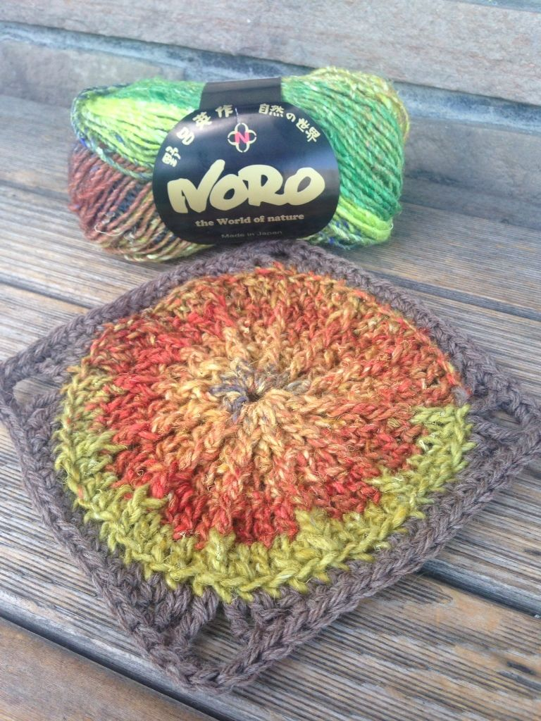 Sunny Spread Square in Noro Kureyon and Cascade Eco Wool