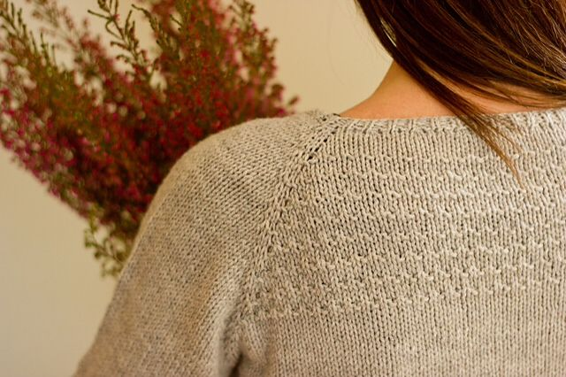 Heathered Cardigan, textured yoke