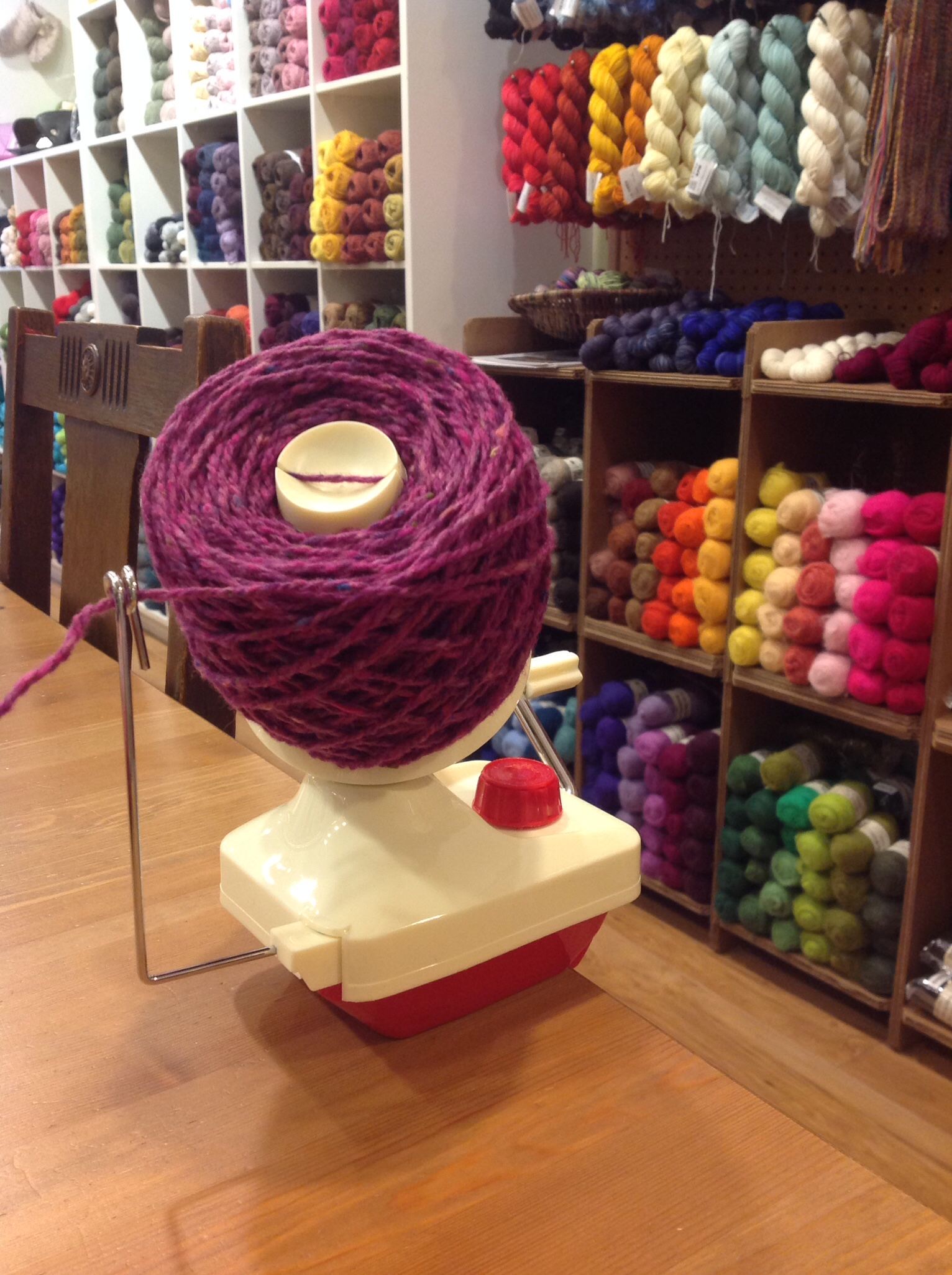 Lacis Yarn Ball Winder Three Bags Full Yarn Store