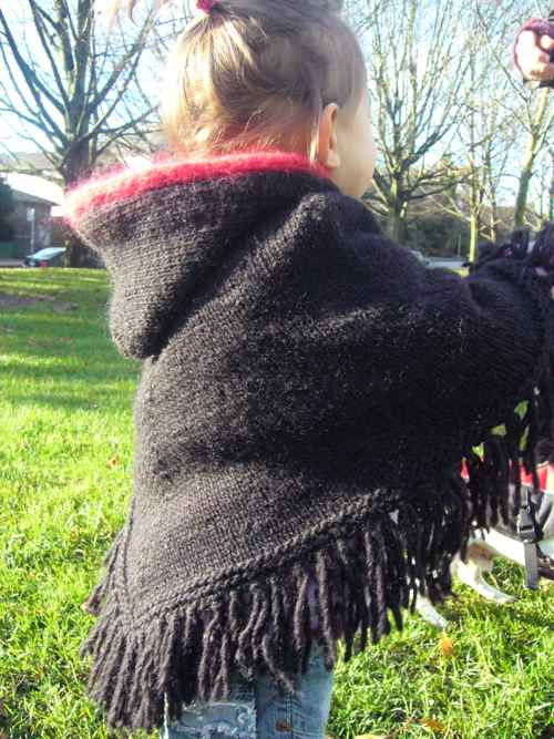Childrens Knit Poncho Patterns: Kids Knitted Poncho Pattern